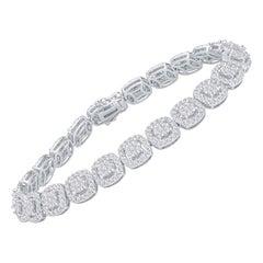 4.09 Carats Total Round Brilliant Cut Diamond Bracelet, 14 Karat White Gold