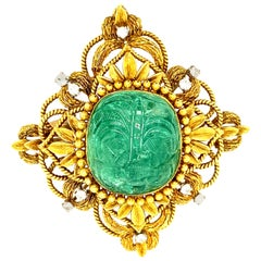 40ct Carved 'Moghul-Style' Emerald, Textured Gold, and Diamond Pendant or Brooch