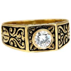 .40 Carat Vintage Victorian Natural Diamond Ring 18 Karat Raised Crest