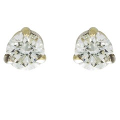 White Gold .40 Carat Round Diamond 3-Prong Solitaire Stud Earrings