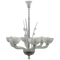 1940s Blown Murano Glass Ceiling Lamp Barovier & Toso