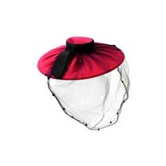40s Fuchsia Pleated Felt Hat with Huge Brim