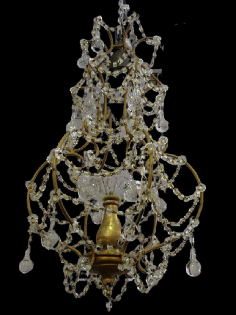1940s Italian White Glass and Wood Louis XV Style Chandelier For Sale 10