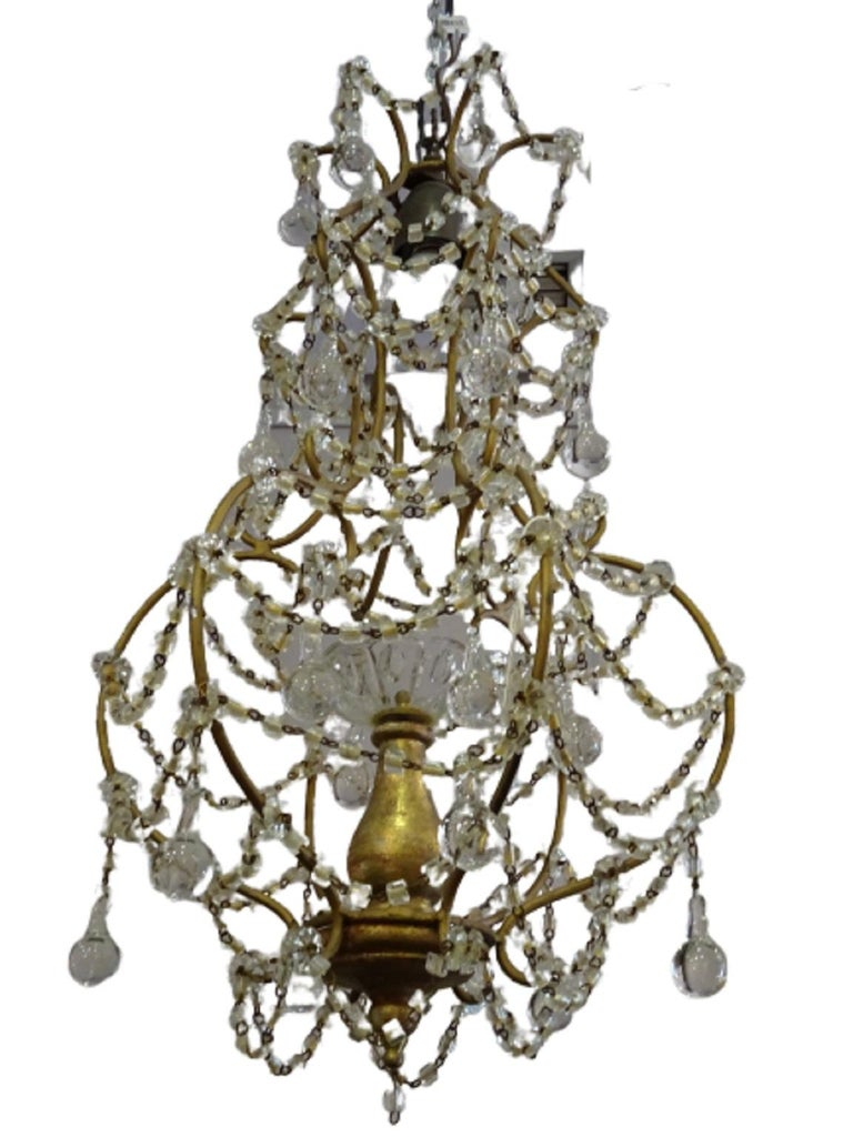 1940s Italian White Glass and Wood Louis XV Style Chandelier For Sale 11