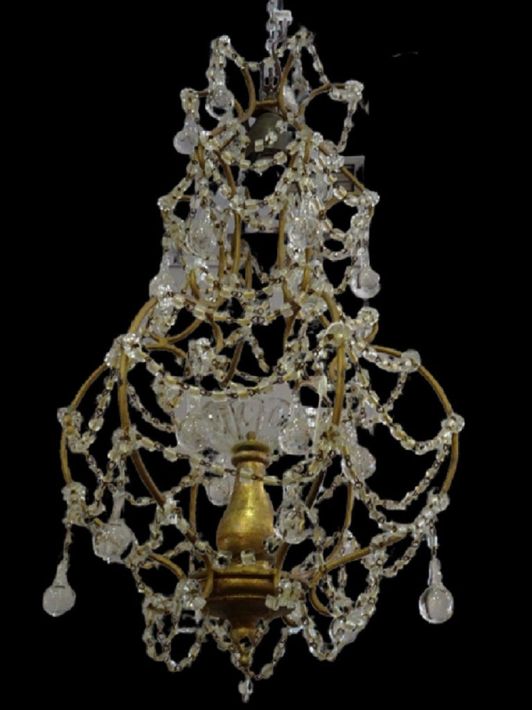 1940s Italian White Glass and Wood Louis XV Style Chandelier For Sale 12