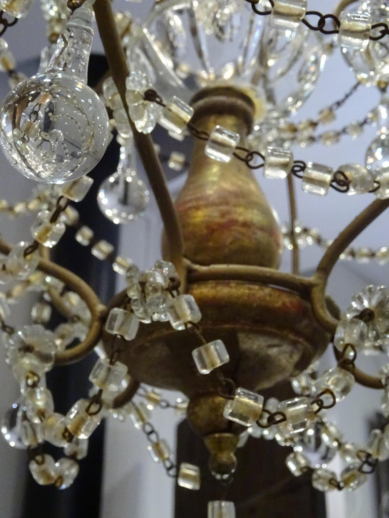 Carved 1940s Italian White Glass and Wood Louis XV Style Chandelier For Sale