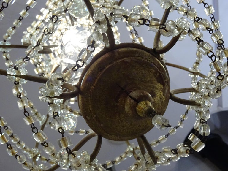1940s Italian White Glass and Wood Louis XV Style Chandelier For Sale 1