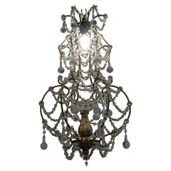 1940s Italian White Glass and Wood Louis XV Style Chandelier