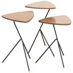 1940s Mathieu Mategot Side Tables Triangle for Artimeta Set/3