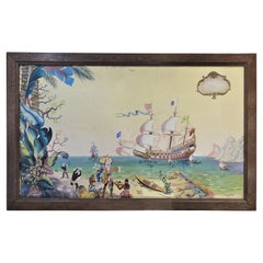 """40s Painting, Decorativeart, French, Oil on Canvas, """"The discovery of Antilles"""""""
