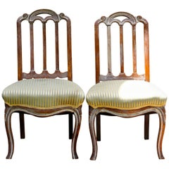 1940s White Limed Oak Side Chairs in Louis XV Style