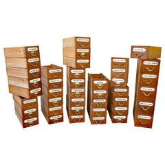 41 Apotheker Schubladenschrank mit Emailliertem Label und Figurativem Bronze Griff