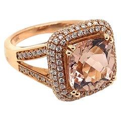 4.1 Carat Cushion Shaped Morganite Ring in 18 Karat Rose Gold with Diamonds