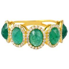 4.1 Carat Emerald Diamond 18 Karat Gold Ring
