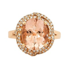 4.1 Carat Morganite and Diamond Ring in 18 Karat Rose Gold