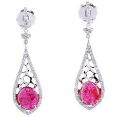 4.1 Carat Ruby 18 Karat White Gold Diamond Earrings