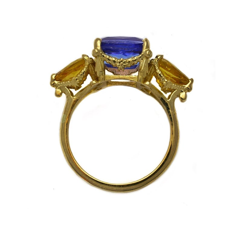 Victorian William Llewellyn Griffiths Tanzanite and Yellow Sapphire Starry Night Ring For Sale