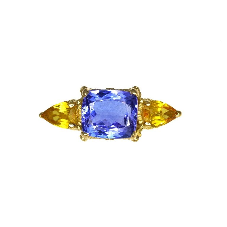 Cushion Cut William Llewellyn Griffiths Tanzanite and Yellow Sapphire Starry Night Ring For Sale