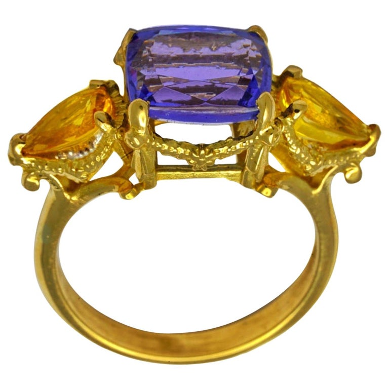 William Llewellyn Griffiths Tanzanite and Yellow Sapphire Starry Night Ring For Sale