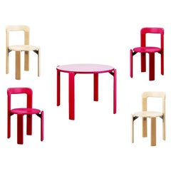 4+1 Rey Junior Children Set, Pink/Maple, Bruno Rey 'Design 1971', in Stock