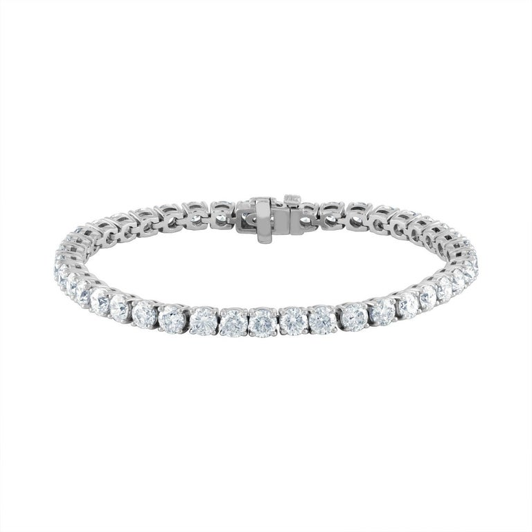 41 Round Brilliant Diamonds are Set in a White Gold Tennis Bracelet