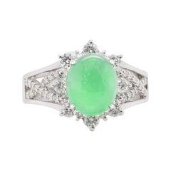 4.10 Carat Apple Green Jade and Diamond Cocktail Ring Set in Platinum