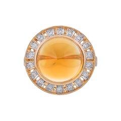4.10 Carat Citrine Diamond 18 Karat Yellow Gold Ring