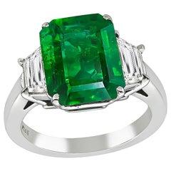 4.10 Carat Emerald Diamond Platinum Ring