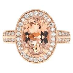 4.10 Carat Impressive Natural Morganite and Diamond 14K Solid Rose Gold Ring