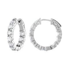 4.10 Carat Inside Out Diamond Hoop Earrings, 0.20 Carat Each