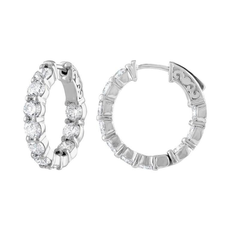 4.10 Carat Inside Out Diamond Hoop Earrings, 0.20 Carat Each For Sale
