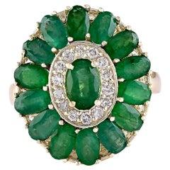 4.10 Carat Natural Emerald 18 Karat Yellow Gold Diamond Ring