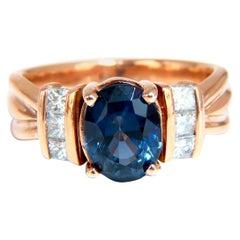 4.10 Carat Natural Tanzanite Diamonds Ring 14 Karat Rose Gold