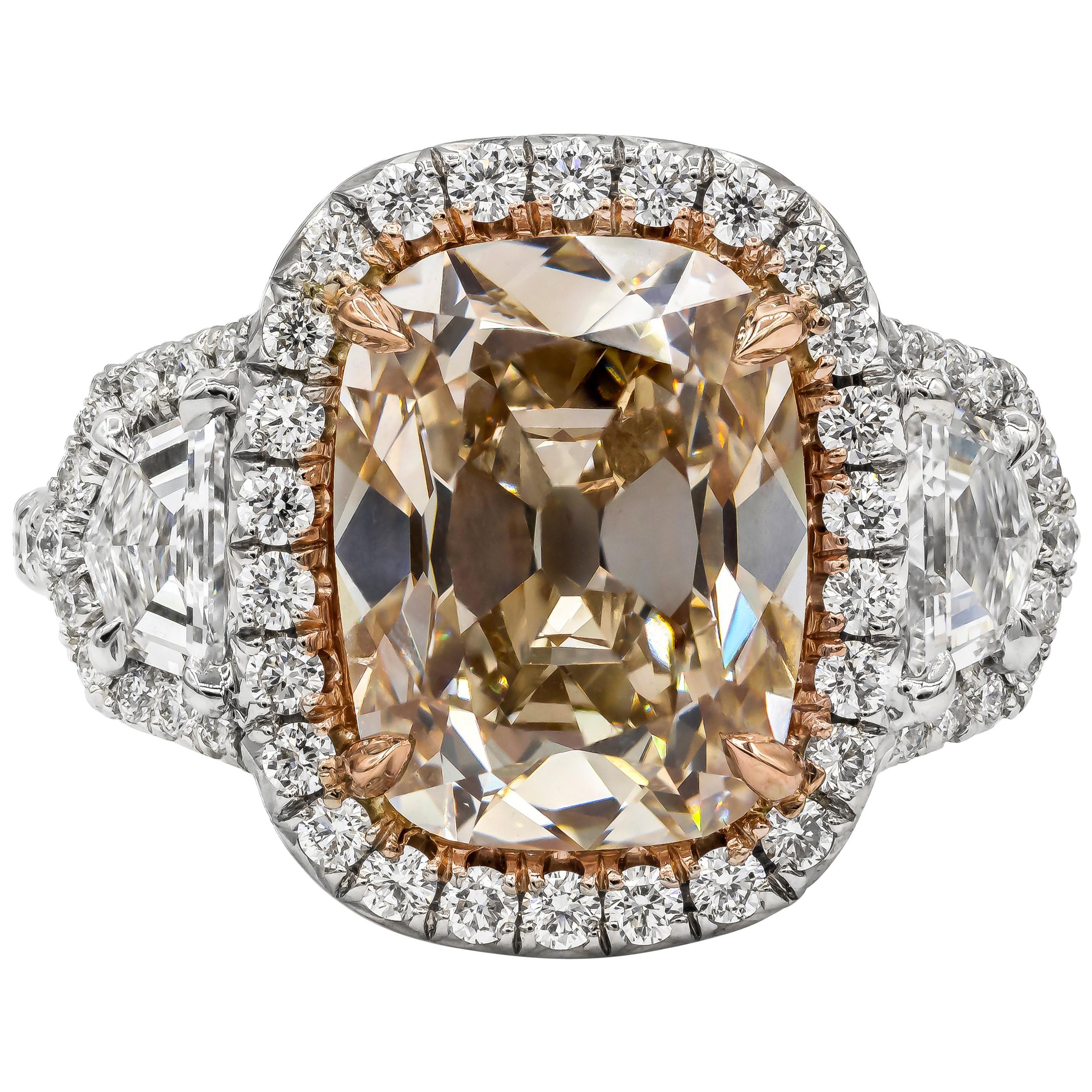 Roman Malakov 4.10 Carat Old Mine Cut Diamond Halo Three-Stone Engagement Ring