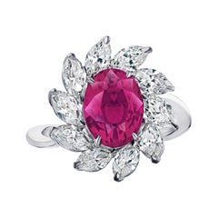 4.10 Carat Oval Red Ruby and Diamond Ring with GIA Report