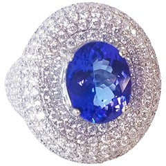4.10 Carat Oval Tanzanite and Diamond Cocktail Ring in 18 Karat White Gold