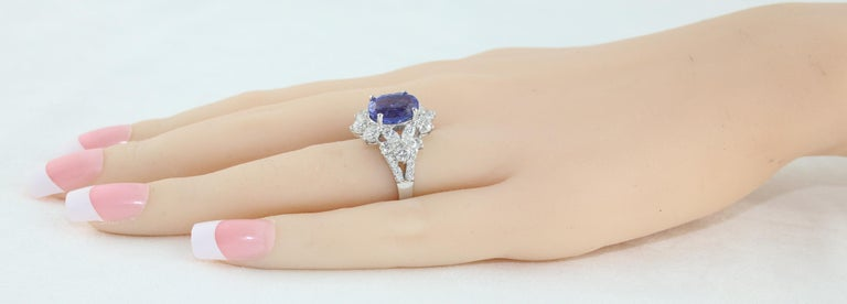 4.10 Carat Oval Tanzanite Diamond Gold Ring For Sale 1