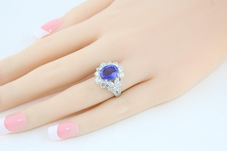 4.10 Carat Oval Tanzanite Diamond Gold Ring For Sale 2