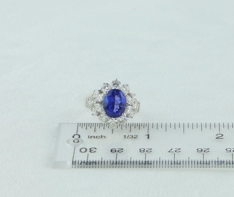 4.10 Carat Oval Tanzanite Diamond Gold Ring For Sale 3
