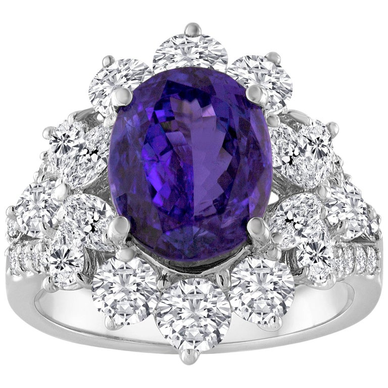 4.10 Carat Oval Tanzanite Diamond Gold Ring For Sale