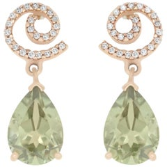 4.10 Carat Pear Shaped Color Change Diaspore and Diamond Stud Earrings