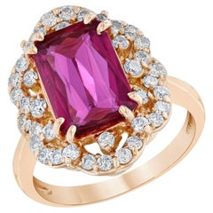4.10 Carat Pink Tourmaline Diamond 14 Karat Rose Gold Ring