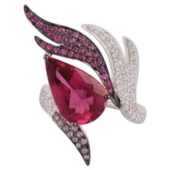 4.10 Carat Rubellite, Pink Sapphire and Diamond Ring Studded in 18 Karat Gold
