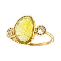 4.10 Carat Sapphire Diamond Rose Cut 18 KT Yellow Gold Paris Artisan Ring