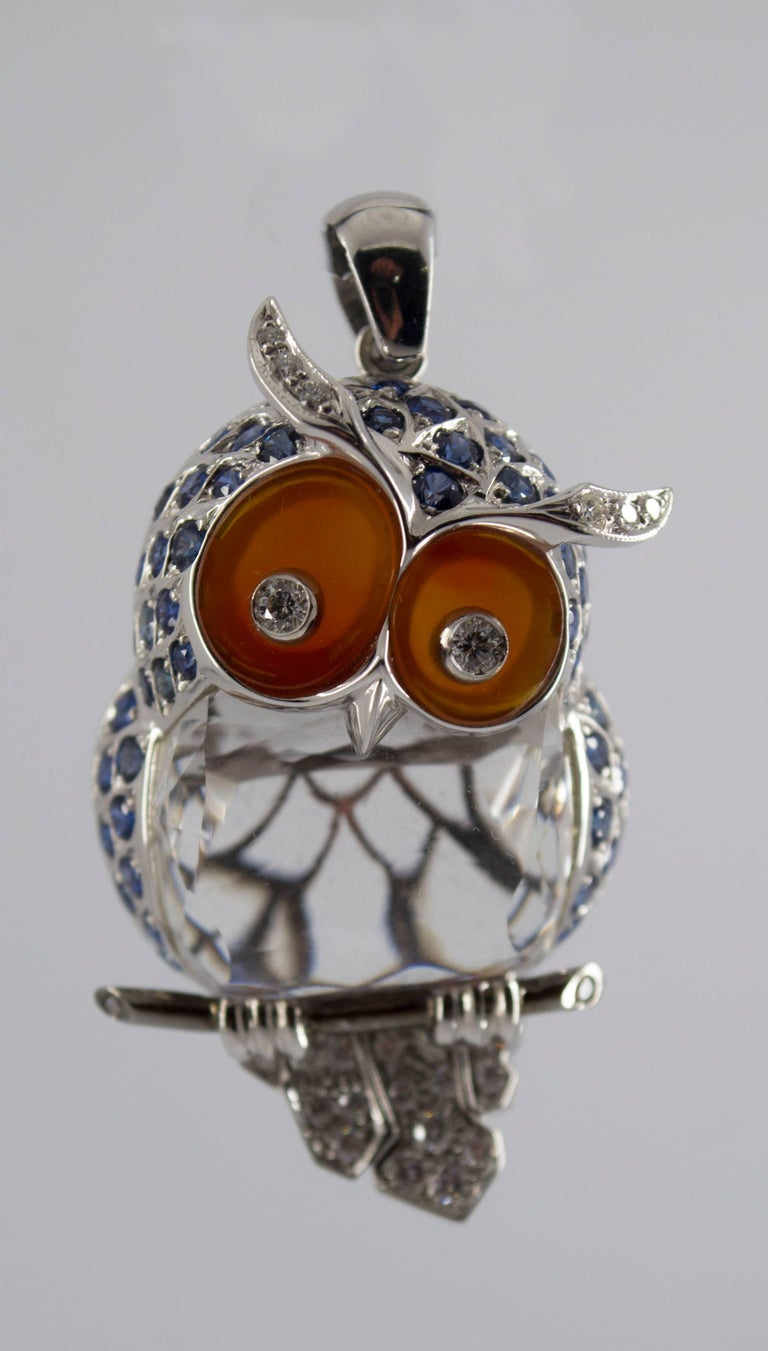 This is one of favorite pieces of Luigi Ferrara: his Owl Pendant. As you can see from our Brand Page this is the Logo of our Company. Luigi designed it about 1970 and from the first one he made a lot of similar pieces but each with its own color
