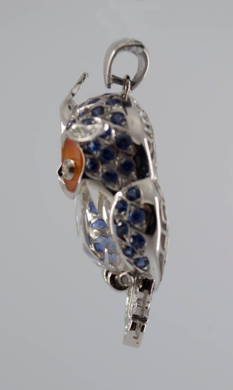 Contemporary 4.10 Carat Sapphire Diamond White Gold Owl Pendant Necklace For Sale