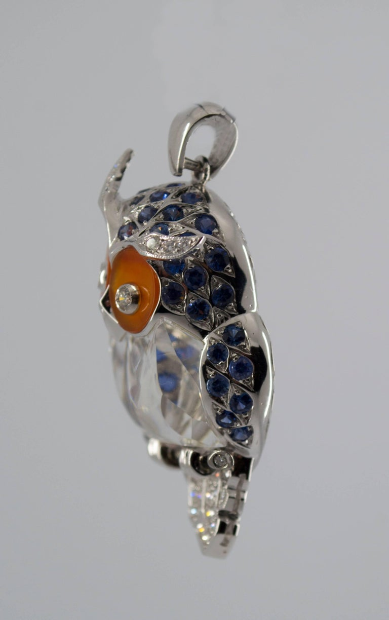 4.10 Carat Sapphire Diamond White Gold Owl Pendant Necklace In New Condition For Sale In Naples, IT