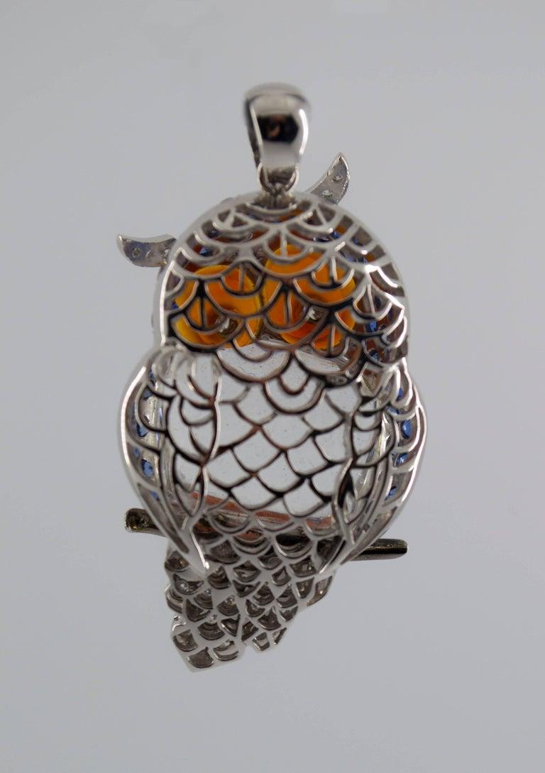 4.10 Carat Sapphire Diamond White Gold Owl Pendant Necklace For Sale 1