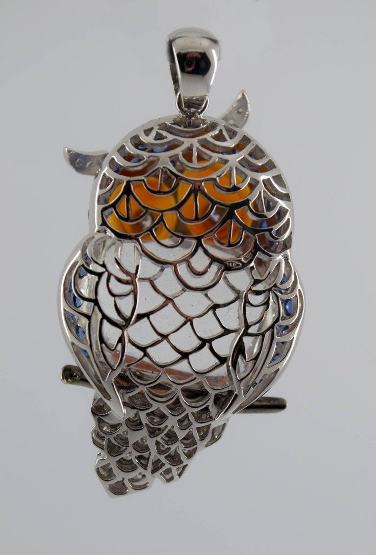 4.10 Carat Sapphire Diamond White Gold Owl Pendant Necklace For Sale 2