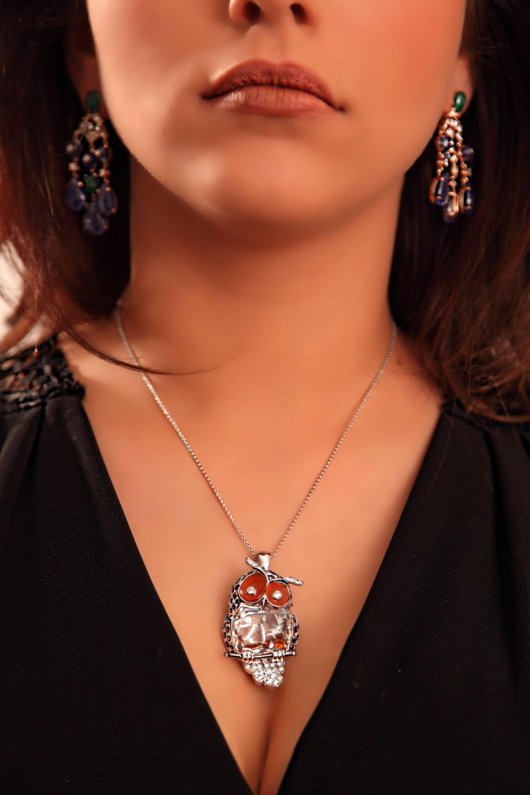 4.10 Carat Sapphire Diamond White Gold Owl Pendant Necklace For Sale 4